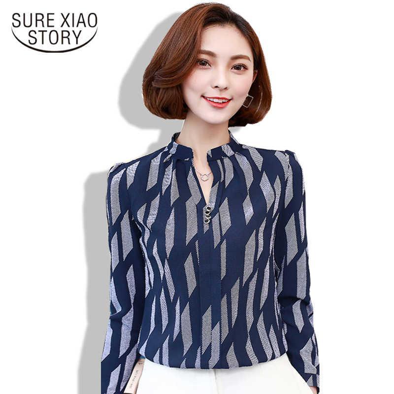 3f5bafe81bf Женские топы и блузки весна 2019 женские Топы повседневные v-образный вырез  шифоновая блузка рубашка