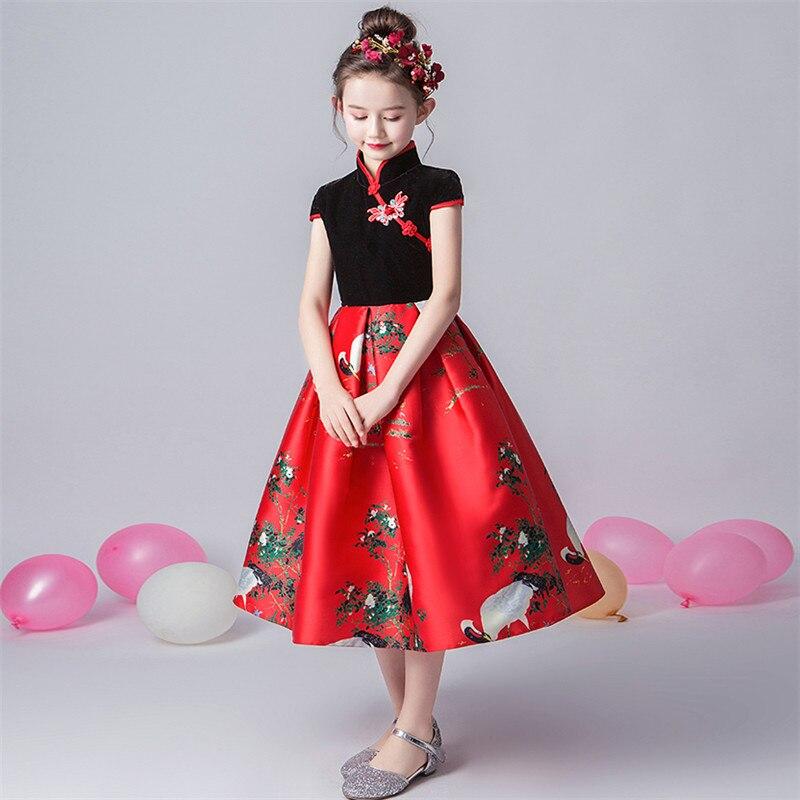 2019 de lujo primavera nuevo estilo chino tradicional de las muchachas de los niños de la noche de la fiesta de cumpleaños modelo de vestido de los niños adolescentes vestido de baile de graduación - 4
