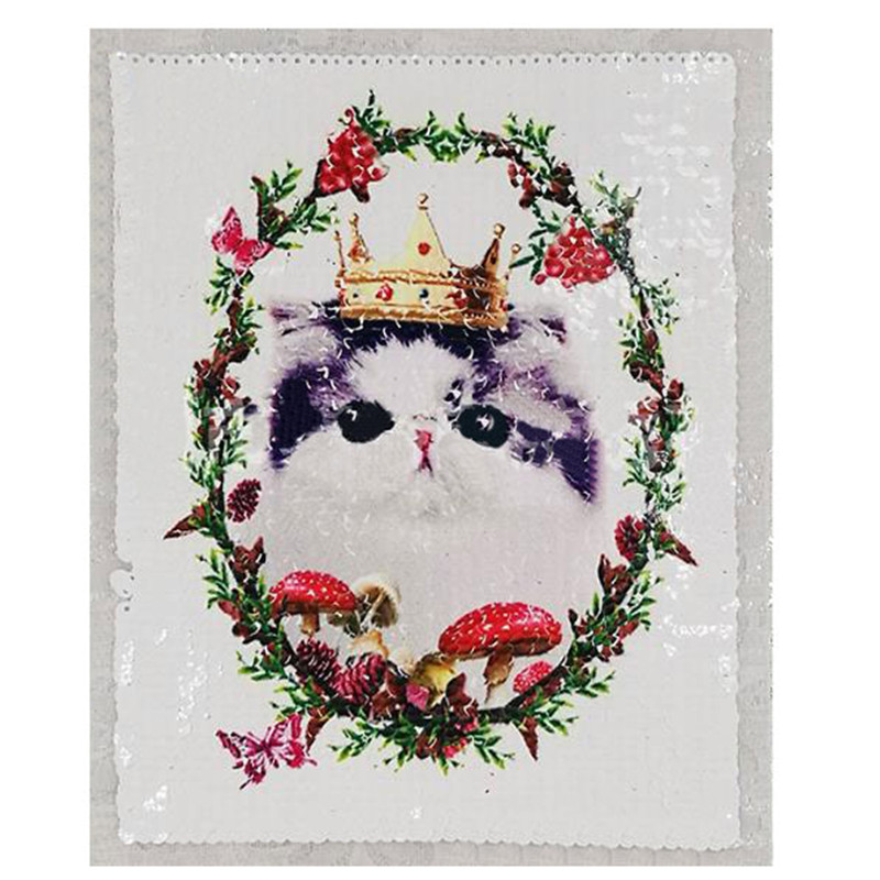 245mm crown cat diy patch deal with it clothes iron on patches for clothing t shirt sequins stickers halloween christmas gifts