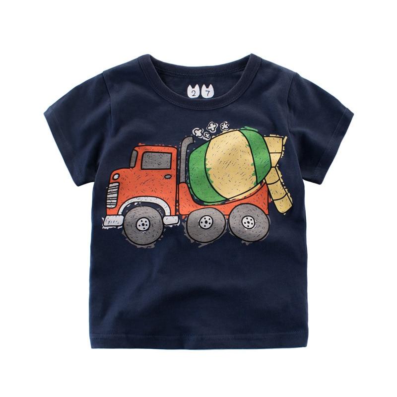 Baby Boy Summer T Shirt Kids Short Sleeve T-shirt Tops Print Cartoon Car Toddler Boys Su ...