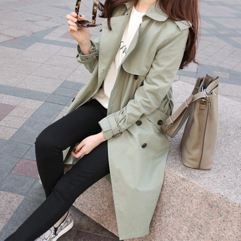 2019 Fashion Casual Women   Trench   Coat Windbreaker Female Bf Korean Khaki Green Long Loose Women's Clothing Outerwear