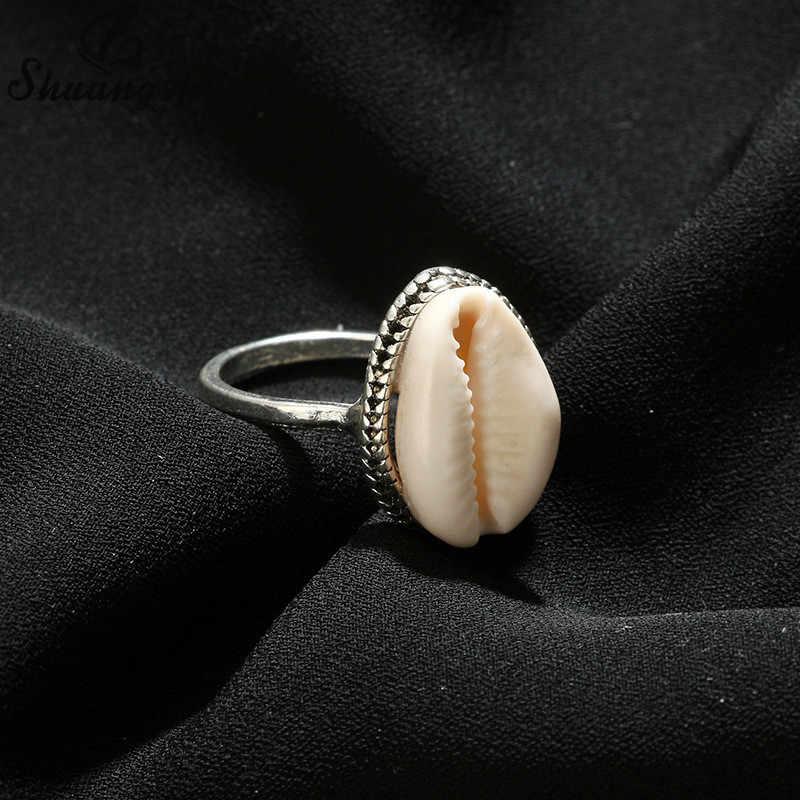 Shuangshuo ファッション女性リング天然シェルリング海ビーチ貝殻水泳女性のためのミディ指輪自由奔放に生きる