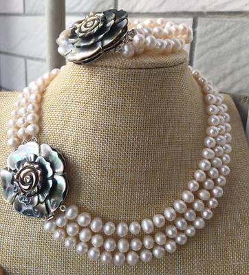 Fashion new 3 rows7-8mm south sea white round pearl necklace 17