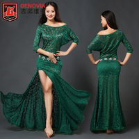 Women Oriental Dance Belly Dance Costume Suits Club Stage One Piece Skirt Dress Lace Colour 5