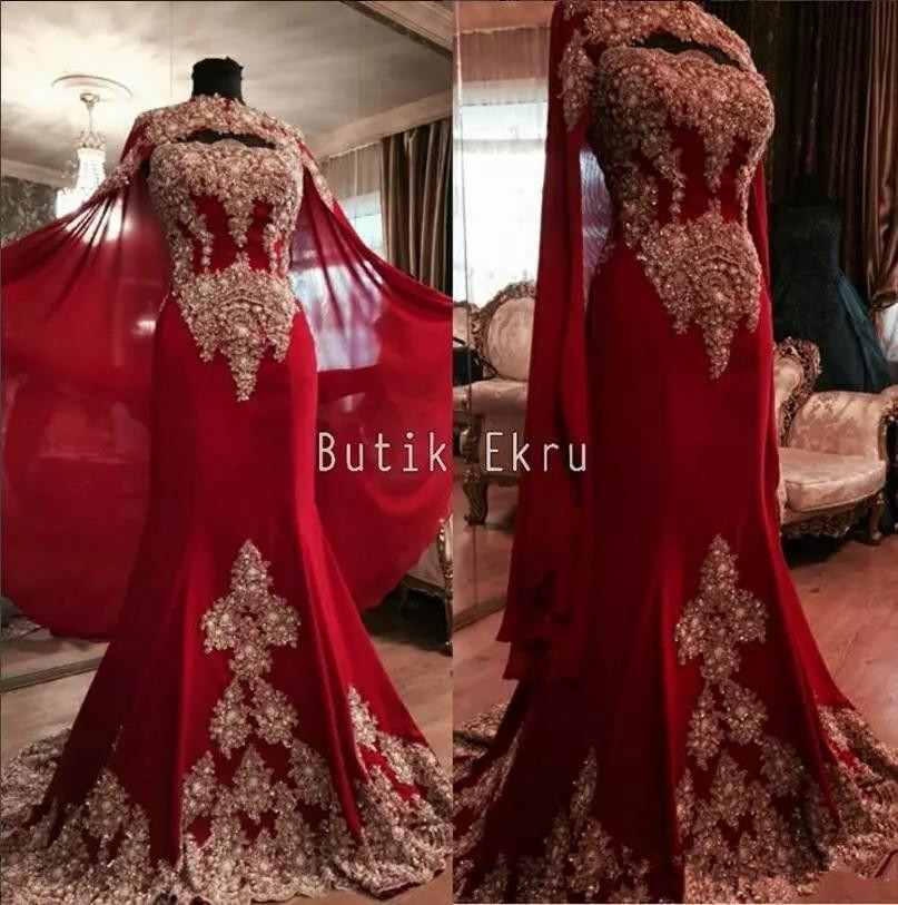 Luxurious Lace Red Arabic Dubai India Evening Dresses Sweetheart Beaded Mermaid Chiffon Prom Dresses With A Cloak Formal Party