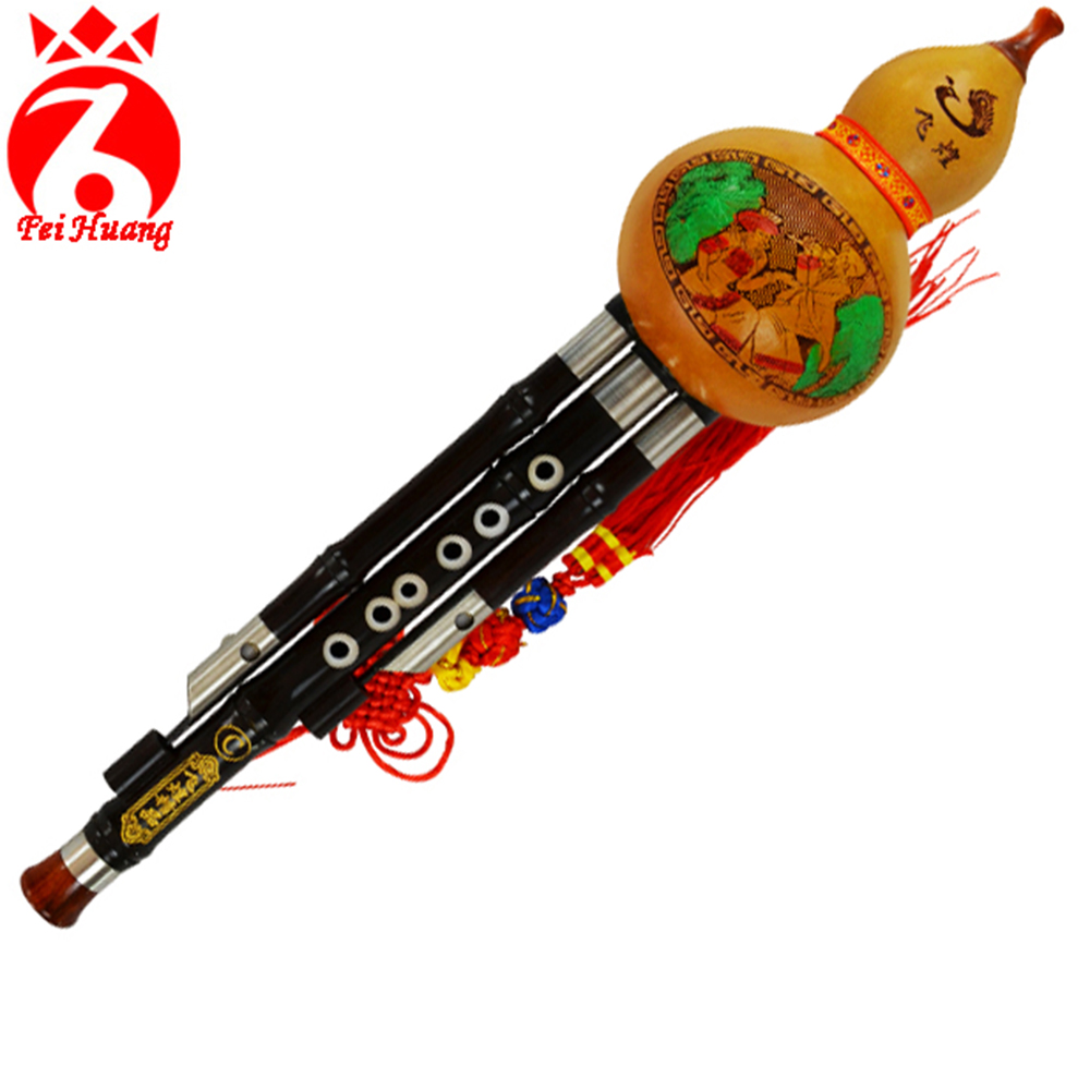 Musical Instrument Hulusi Chinese Traditional Instrument Yunnan Gourd Cucurbit Flute Ebony Wood Pipe Key C Bb Tone Wood Wind F13 chinese traditional high quality detachable single pipe cross bblown flute bawu ebony ba wu key of g f c bb