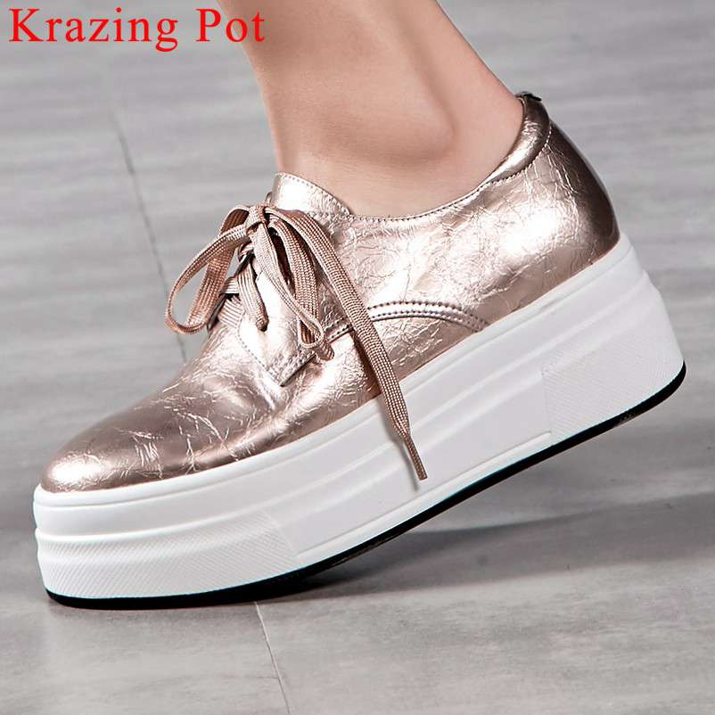 2019 concise sneakers genuine leather thick high bottom waterproof lace up round toe daily wear shallow