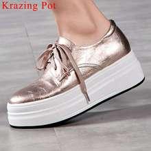 2021 موجزة أحذية رياضية جلد طبيعي سميكة عالية أسفل مقاوم للماء الدانتيل يصل جولة تو ارتداء اليومي الضحلة أحذية مفلكنة L6f7
