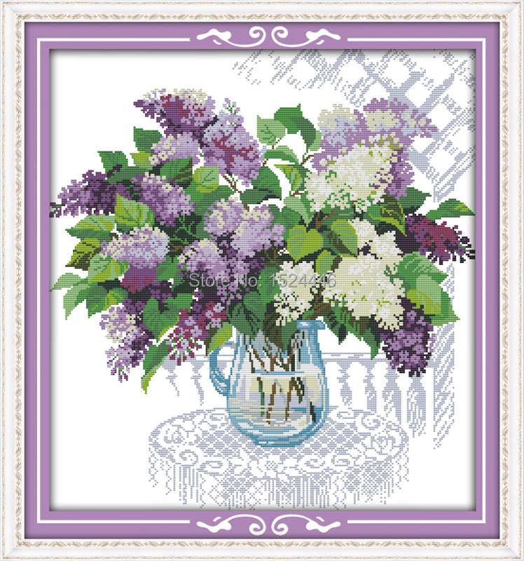 Красочная корзина сиреневого цвета, счетный принт на холсте DMC 11CT 14CT набор крестиков, вышивка, красивый цветок