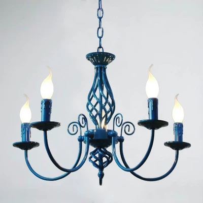 For Foyer living room bedroom dinning room use modern vintage 5 arms classical Iron blue candle light chandelierFor Foyer living room bedroom dinning room use modern vintage 5 arms classical Iron blue candle light chandelier