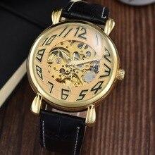 GOER марка Мужской кожаный наручные часы мужские механические часы Автоматические Спорта водонепроницаемый Световой Скелет
