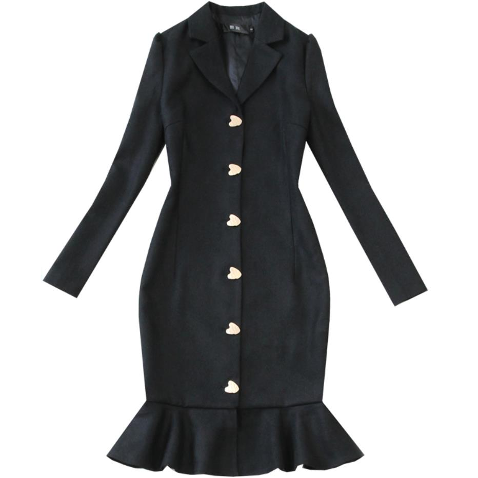 winter black woolen dress thick long sleeved single breasted notched collar slim mermaid dress office lady