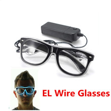 Quality Fashion Top El Wire Neon Light Up Shutter New Arrival Glow LED Glasses Rave Costume Party DJ Bright SunGlasses