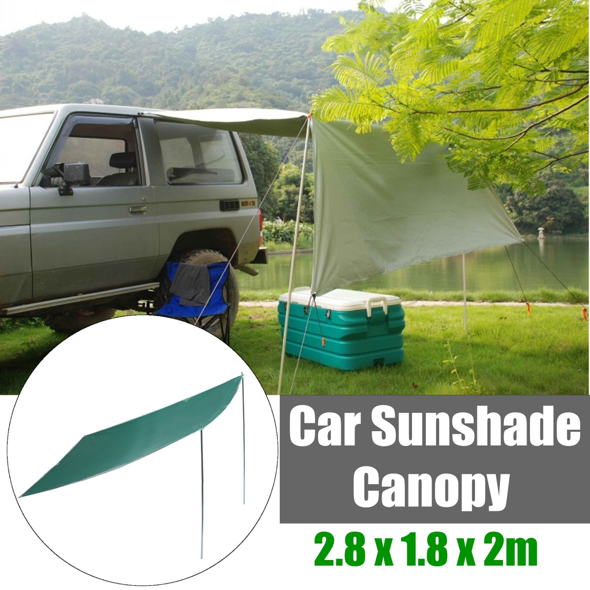 2.8 X 1.8m Sunshade Tent Car Outdoor Folding Waterproof Camping Roof Top Tent Folding Anti-UV Car Canopy Sun Shelter foldable outdoor car tent umbrella sunshade roof cover cloth full automatic anti uv waterproof windproof replaceable car cover
