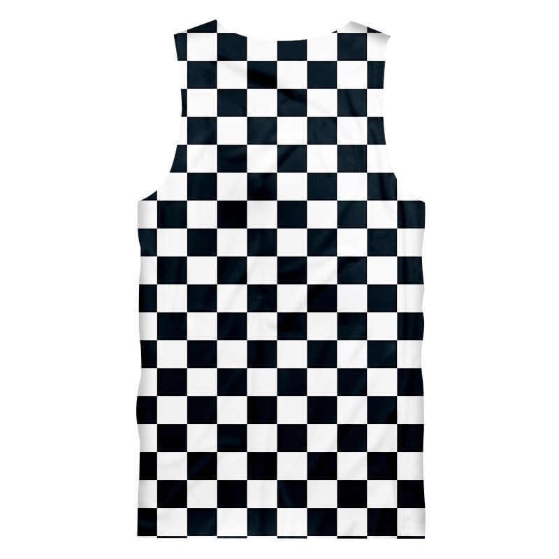 OGKB Nieuwe Harajuku mannen Casual Tank Top Cool Print Zwart Wit Grid 3D Vest Singlets Mans Fit Slim Mouwloze tee Shirts 5XL
