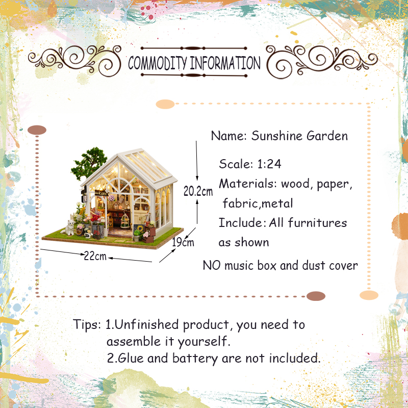 Cutebee DIY House Miniature with Furniture LED Music Dust Cover Model Building Blocks Toys for Children Casa De Boneca-in Architecture/DIY House/Mininatures from Toys & Hobbies    2