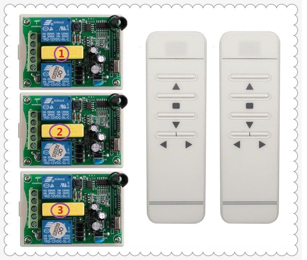 AC220V intelligent digital RF wireless remote control switch system Work independently projection screen&garage door&blinds 2 working ways rf wireless intelligent