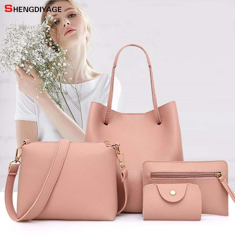 4Pcs/set Leather Women Shoulder Bag Famous Brands Big Crossbody Bag Female Designer Ladies large Bolsos Mujer women bag handbag 4sets herringbone women leather messenger composite bags ladies designer handbag famous brands fashion bag for women bolsos cp03