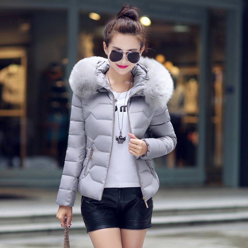 Cotton Down Jacket Womens Coat Winter Thick Coats Female Outerwear Women Girls Short Parka With Faux Fur Hat Plus Size Oevercoat 2017 sliver winter jacket women coat hooded warm jacket coats female thick down jacket basic short coats outwears parka mujer