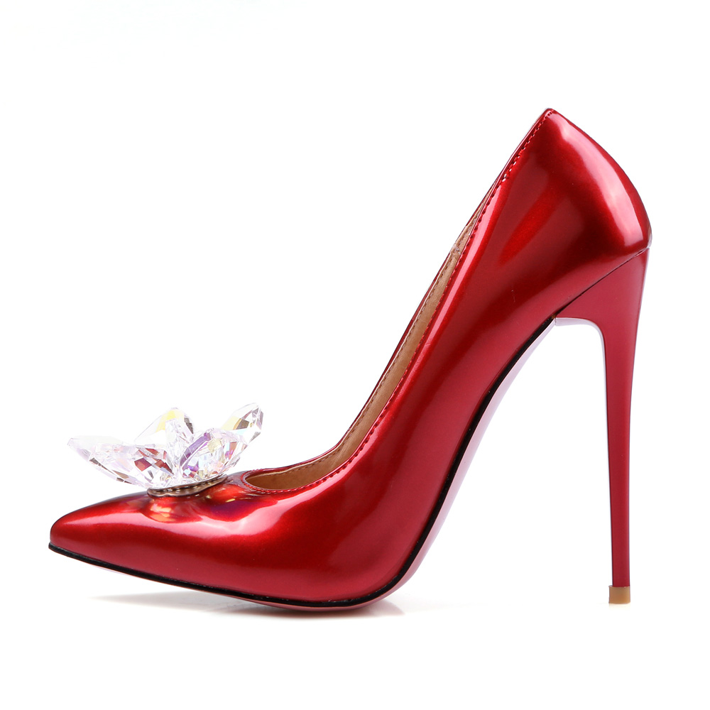 Quality Brand New Elegant Black Red Women Wedding Pumps Pink Studded High Heel Lady Bridal Shoes EMS32 Plus Big Size 12 43 47 quality brand new sexy black red women glossy platform pumps purple high heels lady bridal shoes em10 plus big size 11 31 43 45