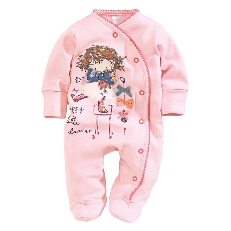 Newborn Clothes Footcover Baby Rompers With Foot Cotton Pink Baby Girls Jumpsuits Overall Body Suit Character 0-12Month 0 12month baby girls