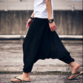 Unique Design Men's Casual Haren Pants Loose and Big Crotch Pants Male and Female Thin Dancing Trousers