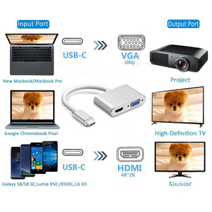 Image 2 - USBC إلى HDMI 4K 30 Hz مهايئ VGA USB 3.1 نوع C USB C إلى VGA HDMI محولات الفيديو محول جديد ماك بوك برو/Chromebook Pix