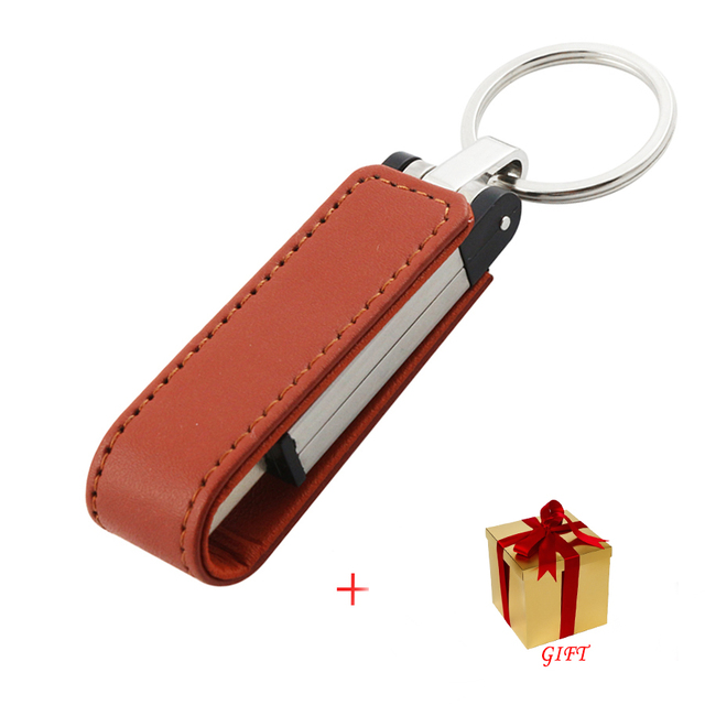 Кожа USB 3.0 Flash Pen Drive Хранения Флешки Памяти 16 ГБ 32 ГБ 64 ГБ 128 ГБ Диски Memory Stick черный/Коричневый + ПОДАРОК