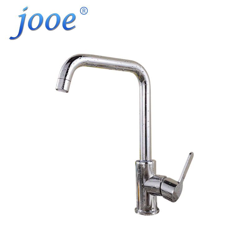 jooe Modern Hot and cold mixer kitchen faucet Brass with chrome plated Single Handle Deck Mounted water tap sink faucet torneira kitchen chrome plated brass faucet single handle pull out pull down sink mixer hot and cold tap modern design