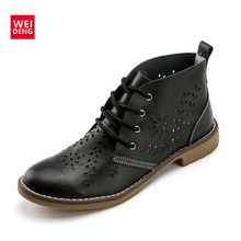 WeiDeng Genuine Leather Brogue Martin Boot Oxford Motorcycle Boots Lace Up Women Flats Ankle Rubber Shoes Winter Large Size