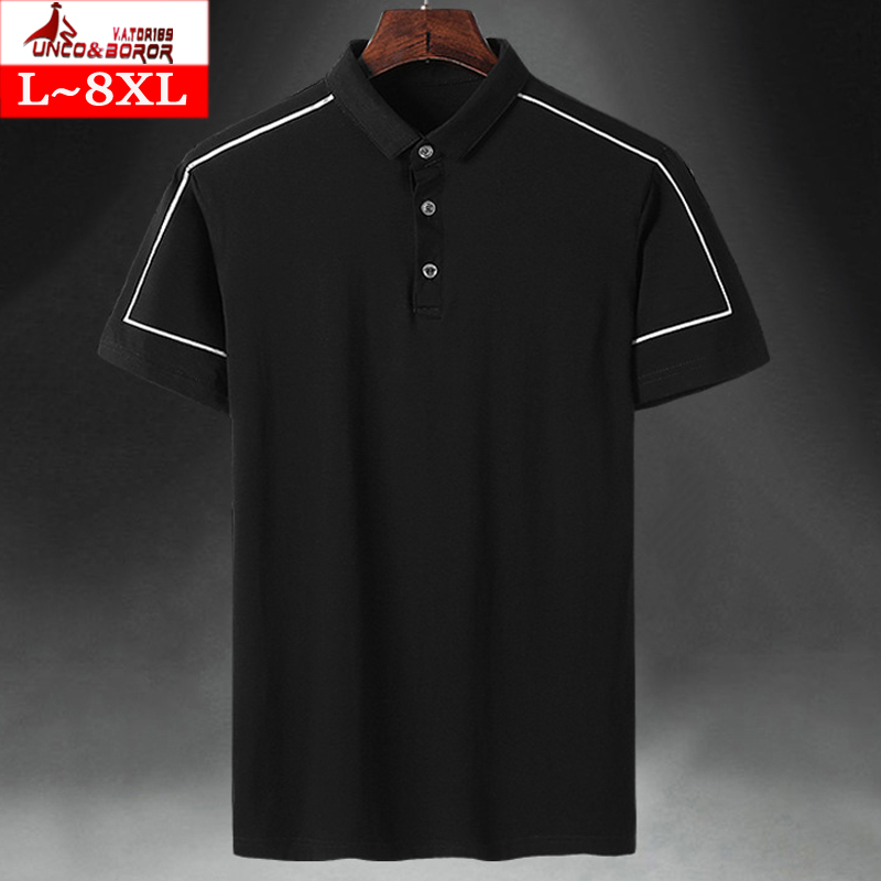 Men`s Pure Cotton   Polo   Shirt male Business Casual Solid short sleeve   Polo   Shirts plus size 7XL 8XL Breathable jerseys shirts