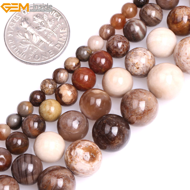 Gem-inside Natural Round Brown American Silicified Wood Opalite Stone Beads for Jewelry Making 15inches DIY Christmas Jewellery
