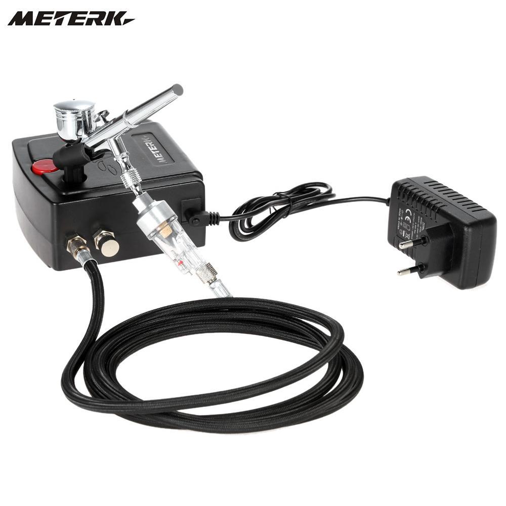 Meterk 100-250 В 0,3 мм самотеком двойного действия Аэрограф Воздушный компрессор комплект Спрей модель Air кисти набор инструментов