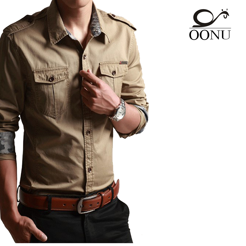 Oonu cotton long sleeve shirts for for mens long for Mens military style long sleeve shirts