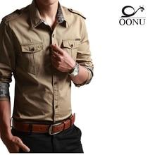 Freies Verschiffen Baumwolle langarm shirts für Herren langarm Plus Size Militäruniform Loses Hemd Baumwolle Gefütterte armee Shirts