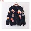Короткие Вязание Аппликация Знак Вышивка НОВЫЙ Пиджак Пальто Прохладный Женщины Марка Молния Бейсбол Равномерное Черное Пальто