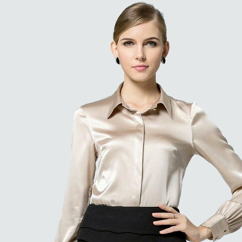 Kobiety jedwabna bluzka z długim rękawem koszulka solid Blusas femininas urząd lady bluzki wykonane na zamówienie Plus rozmiar 2019 wiosna koszula w Bluzki i koszule od Odzież damska na  Grupa 3