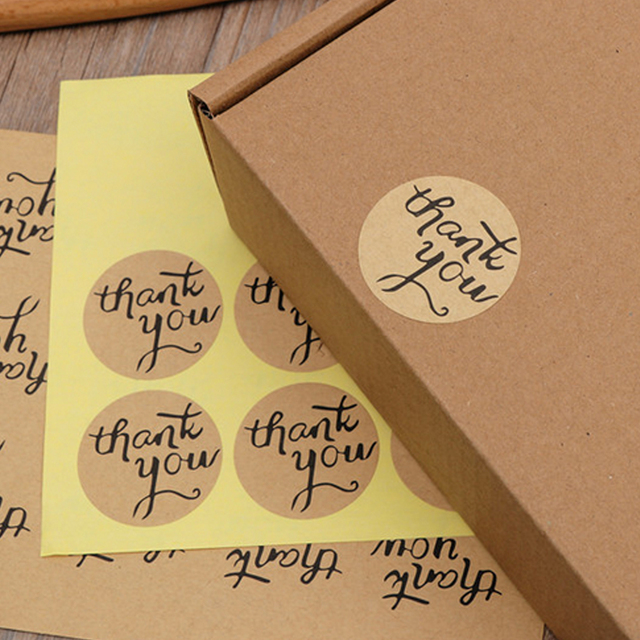 Kraft label thank you envelope stickers gifts custom round labels paper bag 120 pcs red love