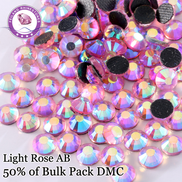 DIY DMC Hotfix RhinestonesSS6 - SS30 Color Light Rose AB Iron On Flatback Crystals