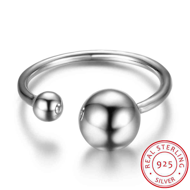 925 Sterling Silver Rings For Women Adjustable Ball Shape Vintage Style Silver J