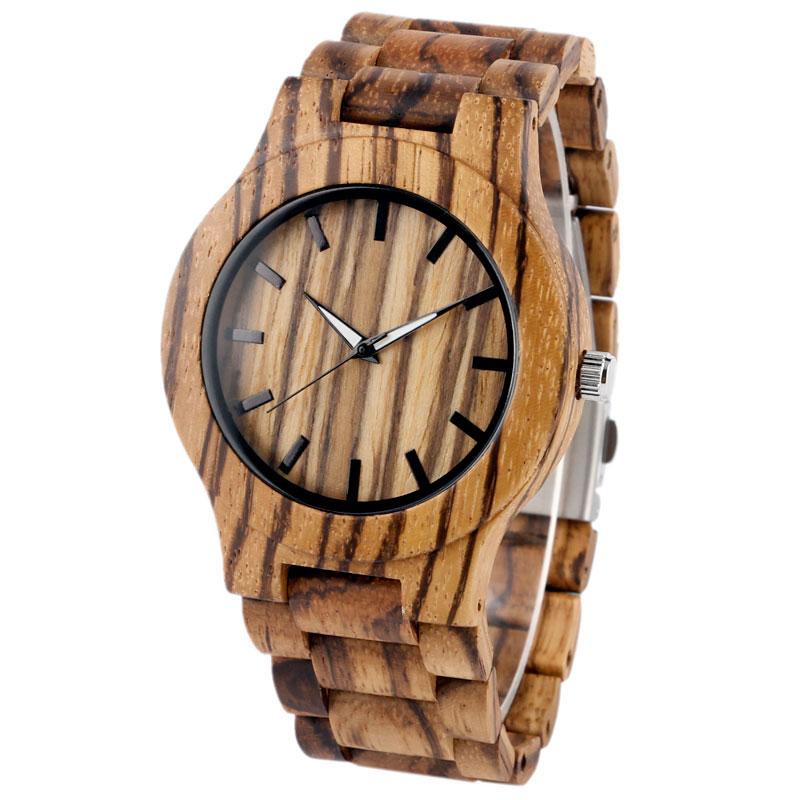Kūrybinis medinis laikrodis vyrams bambuko kvarco minimalistinis - Vyriški laikrodžiai - Nuotrauka 2