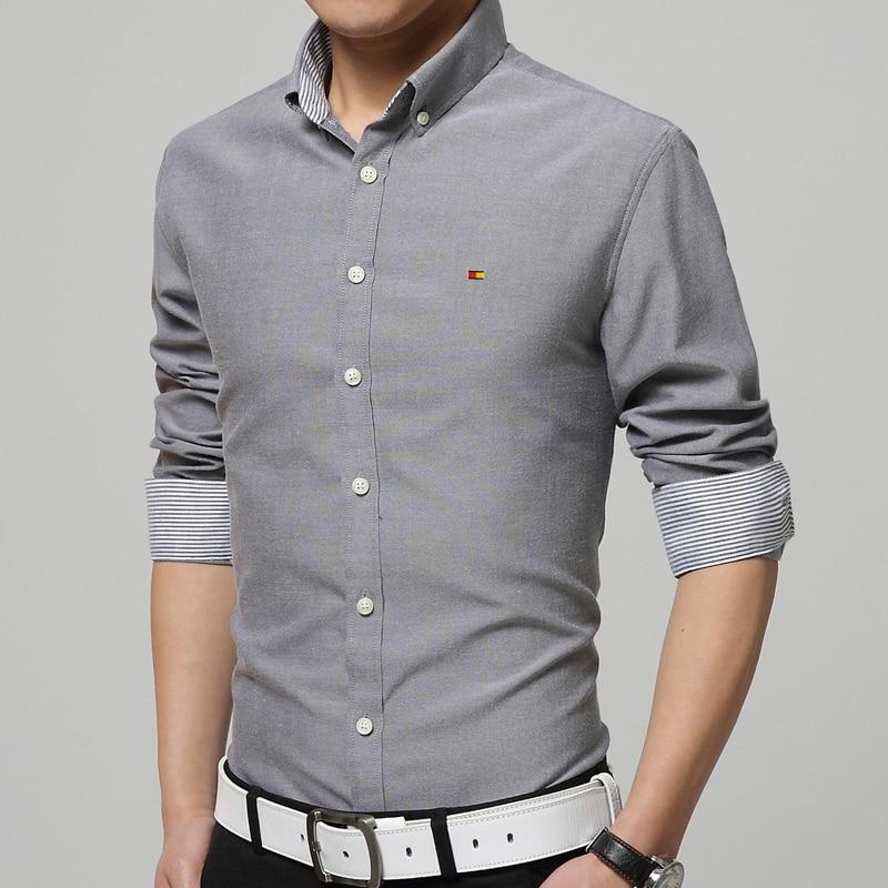 Casual Shirts Men 4XL Designer Brand Slim Fit Man Shirts Long ...