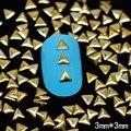 NRG6 1000 шт./лот 3 мм Золото Треугольник Ногтей Коты Gems 3D Металлические С Плавающей Прелести DIY Craft Украшения Ногтей Бесплатно доставка