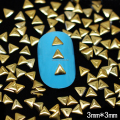 NRG6  1000pcs/lot  3mm Gold Triangle Nail Studs Gems 3D Metal Floating Charms DIY Craft Decoration Nail Art Free Shipping