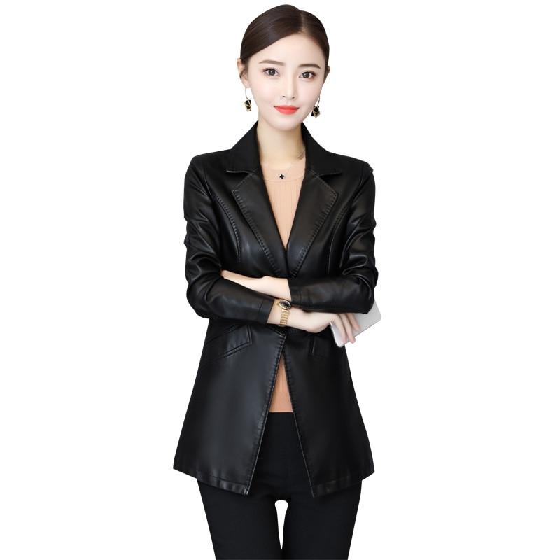 Women Brand Faux Soft Leather Jackets 5XL 2018 New Fashion Autumn Winter Ladies Black Washed Pu