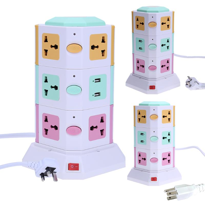 цена на 3 Layer Vertical Power Socket Flame-Resisting Smart Electrical Plugs Sockets Outlet 11Holes 2USB Ports 4LED Lights US/EU/UK Plug