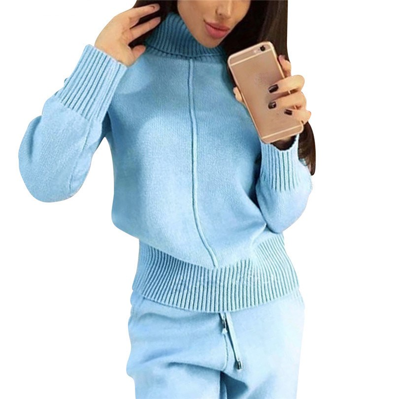 2018 Winter Woolen And Cashmere Knitted Suit Sashes Loose Turtleneck Sweater   Cashmere Pants Two-Piece Set Knit