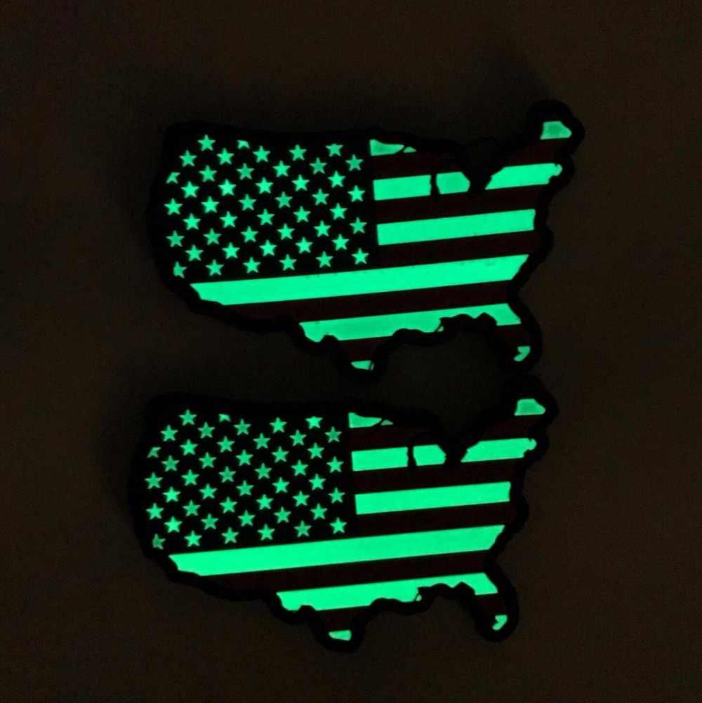Gumowe ameryka flaga Patch mapa usa taktyczne łatki 3D pcv wojskowy stany zjednoczone mapa odznaka hak blask w ciemności Brassard opaska na ramię