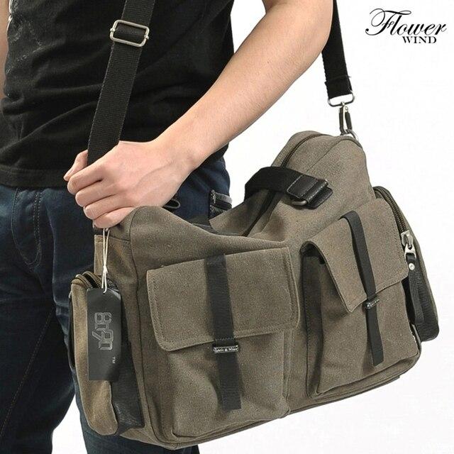 15358d8bfef3 FLOWER WIND HOT SALE Fashion Men Messenger Bags Cotton Canvas Men s  Shoulder Bag Casual Style Man Bag Vintage Men s Travel Bags