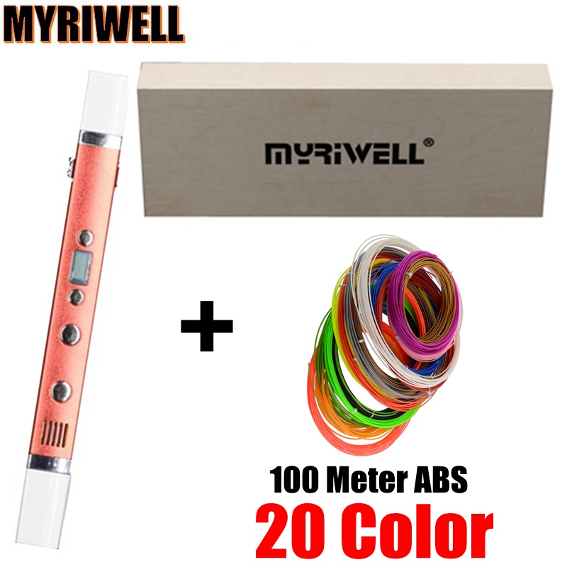 1.75mm ABS/PLA 3D Pens 0.6mm Nozzle MYRIWELL 3th Generation 3D Pen LED Screen Safest Kids DIY Gift Add 20 Color 100 Meter ABS